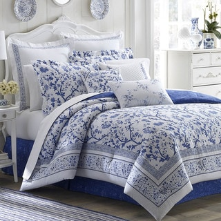 Laura Ashley Charlotte Blue/White Floral 4-Piece Comforter Set