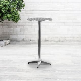 25.5-inch Round Aluminum Indoor/ Outdoor Folding Bar Height Table with Base|https://ak1.ostkcdn.com/images/products/10628842/P17698026.jpg?impolicy=medium