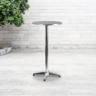 25.5 Inch Round Aluminum Indoor/ Outdoor Folding Bar Height Table With Base