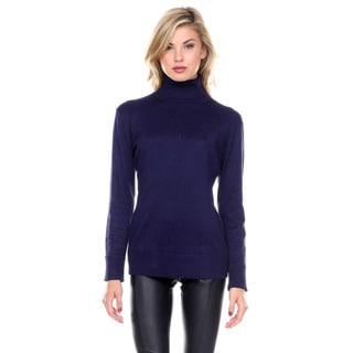 Stanzino Women's Long Sleeve Ribbed Solid Turtleneck Sweater