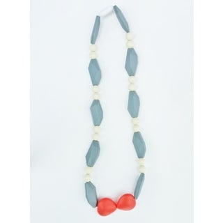 Pretty Little Stye Coral and Grey BPA Free Silicone Shapes Teething Necklace