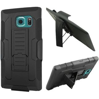 Insten Black Car Armor Hard PC/ Silicone Dual Layer Hybrid Phone Case Cover with Holster For Samsung Galaxy S6 Active