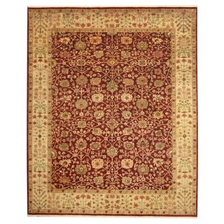 Herat Oriental Indo Hand-knotted Tabriz Red/ Light Green Wool Rug (8' x 10')