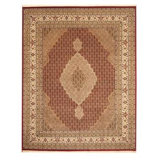 Herat Oriental Indo Hand-knotted Tabriz Red/ Ivory Wool & Silk Rug (8'2 x 10'3)
