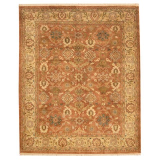 Herat Oriental Indo Hand-knotted Oushak Rust/ Gold Wool Rug (8'2 x 9'10)