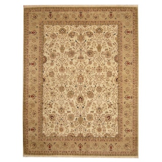 Herat Oriental Indo Hand-knotted Bidjar Beige/ Light Green Wool Rug (7'9 x 10')