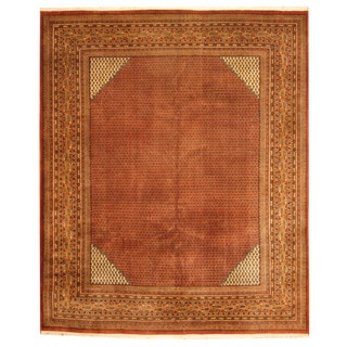 Herat Oriental Indo Hand-knotted Sarouk Rust/ Gold Wool Rug (8'1 x 9'9)