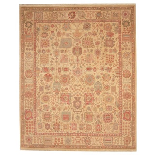 Herat Oriental Indo Hand-knotted Oushak Beige/ Gold Wool Rug (8'2 x 10')