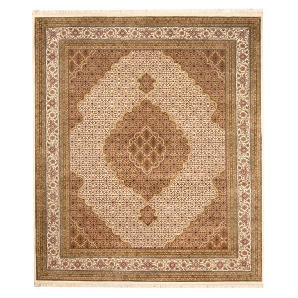Herat Oriental Indo Hand-knotted Tabriz Wool & Silk Rug (8'6 x 9'10)