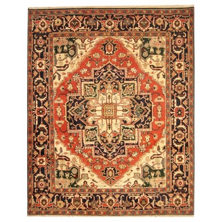 Herat Oriental Indo Hand-knotted Heriz Red/ Navy Wool Rug (8'1 x 10')