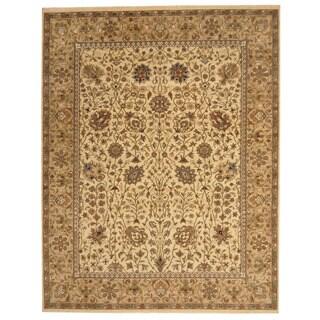 Herat Oriental Indo Hand-knotted Tabriz Beige/ Light Green Wool Rug (8' x 10'1)