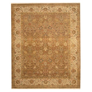 Herat Oriental Indo Hand-knotted Tabriz Light Brown/ Beige Wool Rug (8' x 9'10)