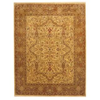 Herat Oriental Indo Hand-knotted Bidjar Light Green/ Gold Wool Rug (7'10 x 10'2)
