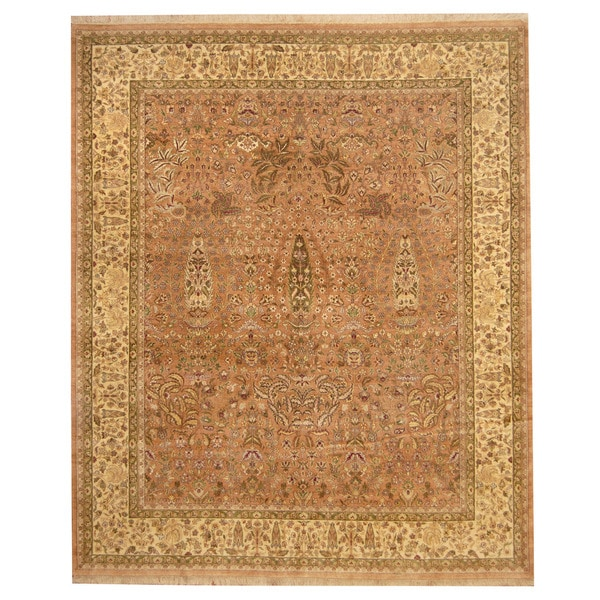 Herat Oriental Indo Hand-knotted Nain Wool Rug (8' x 9'7) - 8' x 9'7