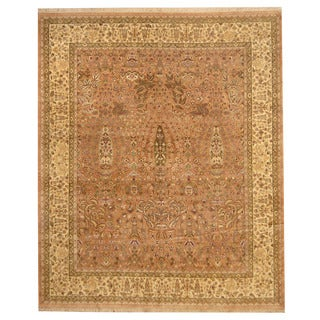 Herat Oriental Indo Hand-knotted Nain Salmon/ Beige Wool Rug (8' x 9'7)