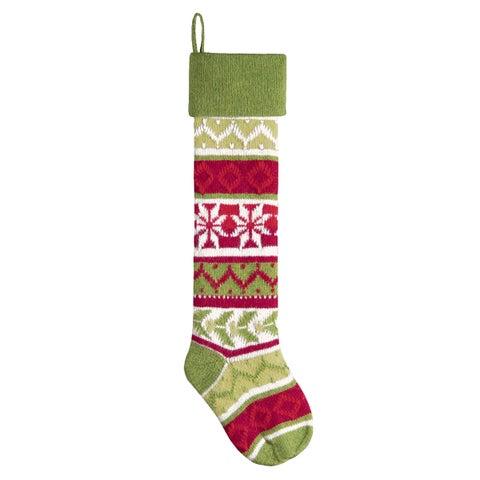 Green Snowflake Knit Christmas Stocking