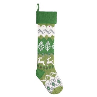 Green Reindeer Knit Christmas Stocking