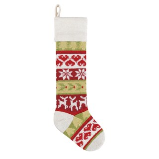 Red Reindeer Knit Christmas Stocking