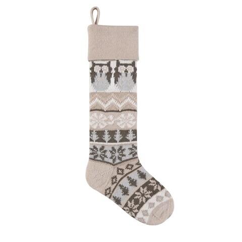 Tan Rustic Owl Knit Christmas Stocking