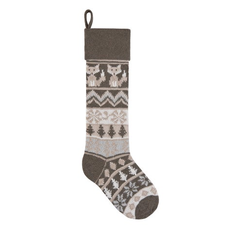 Grey Rustic Fox Knit Christmas Stocking