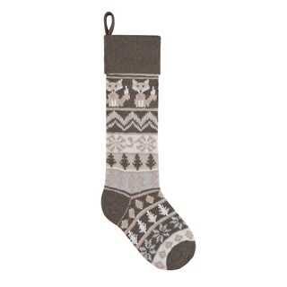 Grey Rustic Fox Knit Christmas Stocking