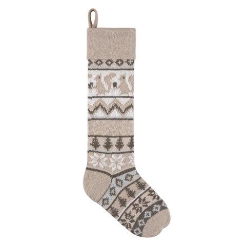 Tan Rustic Squirrel Knit Christmas Stocking