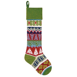 Green Christmas Tree Knit Stocking