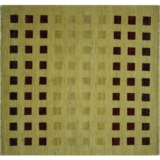 Modern Geometric Ivory 5' Square Gabbeh Hand-knotted Wool Area Rug (5' Square)