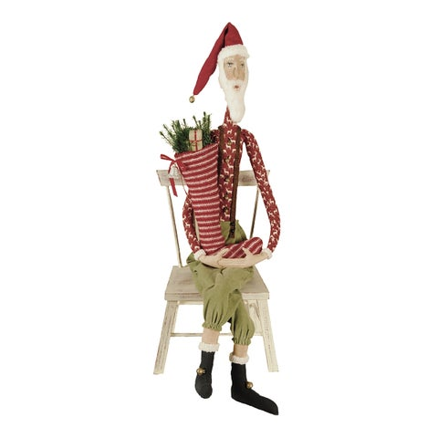 Sleepy Time Santa Joe Spencer Gathered Traditions Art Doll - Red