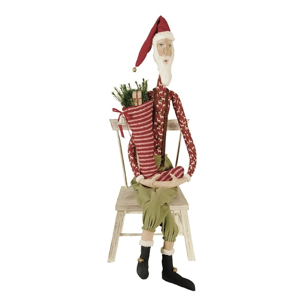 Sleepy Time Santa Joe Spencer Gathered Traditions Art Doll - Red