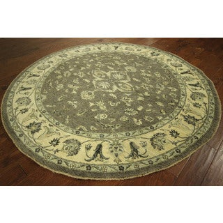 Peshawar Grey Chobi Hand-knotted Wool Vege Dyed Oriental Area Rug (8' Round)
