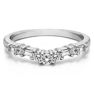 Sterling Silver Fine Curved Wedding Band mounted with Cubic Zirconia (0.33 Cts. twt)