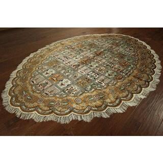 Oval Fine Kashan Hand-knotted Multicolor 100-percentpure Silk Garden Area Rug (7' x 10')