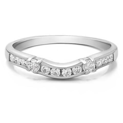TwoBirch Sterling Silver Embellished Classic Contour Band mounted with Cubic Zirconia (0.33 Cts. twt)