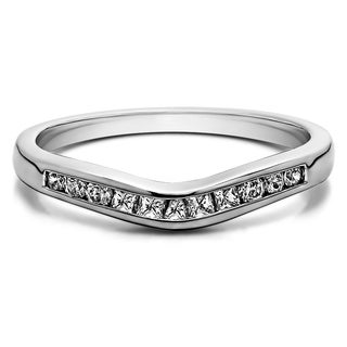 Sterling Silver Classic Style Gently Contoured Wedding Band mounted with Cubic Zirconia (0.33 Cts. twt)