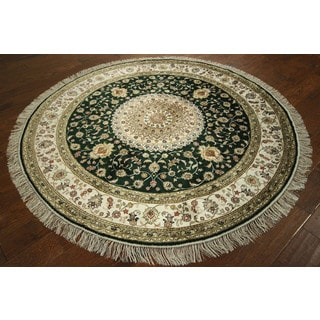 Persian Pure Silk Kashan Hand-knotted Dark Green Sunflower Area Rug (6' Round)