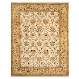 Herat Oriental Indo Hand-knotted Tabriz Ivory/ Gold Wool Rug (7'10 x 10')