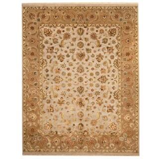 Herat Oriental Indo Hand-knotted Tabriz Gray/ Brown Wool & Silk Rug (7'10 x 10')