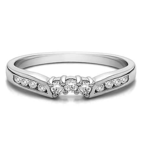 TwoBirch Sterling Silver Delicate Slightly Curved Tracer Ring mounted with Cubic Zirconia (0.25 Cts. twt)