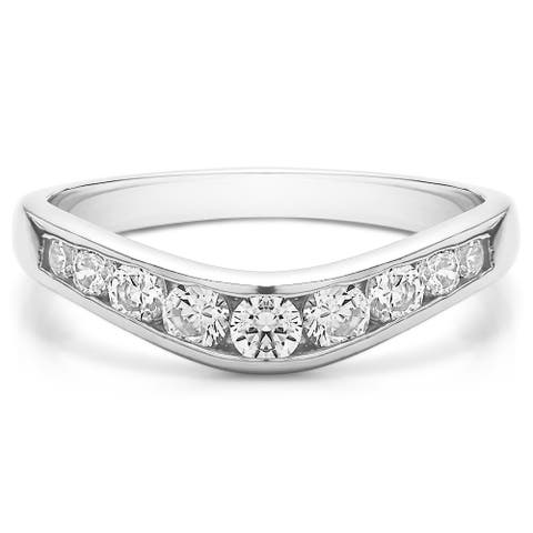 TwoBirch Sterling Silver Graduated Classic Style Contour Band mounted with Cubic Zirconia (0.42 Cts. twt)