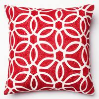 Embroidered Geometric Circle 18-inch Throw Pillow or Pillow Cover