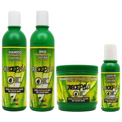 BOE Crece Pelo Fitoterapeutico Natural Shampoo and Rinse and Leave-in and Treatment Set