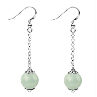 Sterling Silver 12mm Round Aquamarine Dangle Earrings