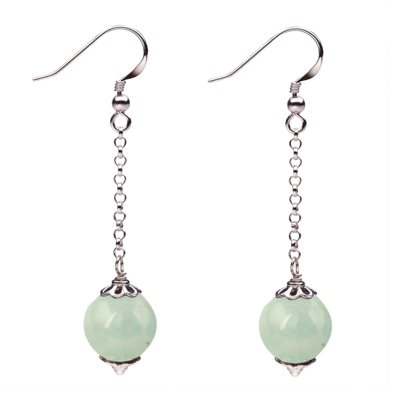 Beautiful 12mm green jade Beads Silver hook Earrings Eardrop