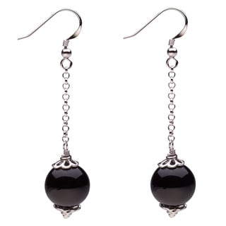 Sterling Silver 12mm Round Onyx Dangle Earrings