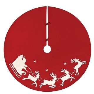"""54"""" Red and White Embroided Rice Stitch Flying Sleigh Christmas Tree Skirt"""