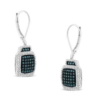 Sterling Silver 3/4ct TDW Blue Diamond Square Dangle Earrings (I-J, I1-I2)