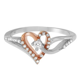 Sterling Silver 1/5ct TDW Rose Gold-Plated Heart Ring (I-J, I2-I3)
