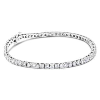 14K White Gold 5ct. TDW Round-cut Diamond Bracelet (H-I,SI2-I1)