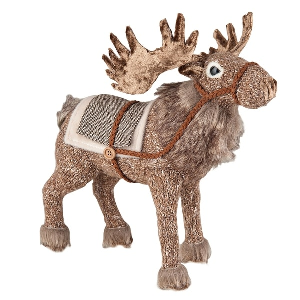 Fur Trim Caribou Figure - brown